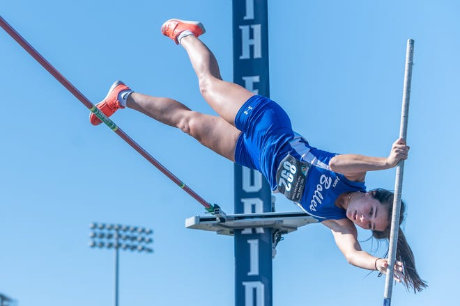 Bolles senior Audrey Wuerffel vaults to first place in the girls pole vault at the FHSAA track and field championships at UNF's Hodges Stadium.