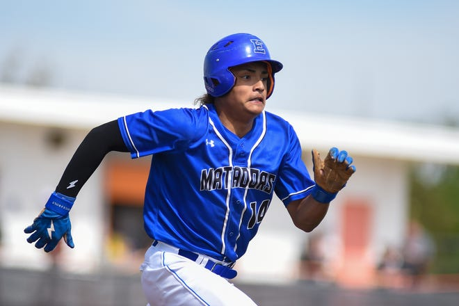 Estacado's Ben Gonzales digs for first during the Matadors' Class 4A bi-district series sweep of Hereford on Saturday in Amarillo. Estacado plays Seminole in a best-of-three area-round series this week.