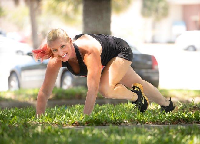 Marlo Alleva demonstrates a running plank.