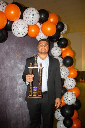 Jamar Goff, who has participated in football, basketball and track-and-field during his high school sporting career, was honored May 3 at the Pawhuska High School All Sports Banquet, held at the Elks Lodge, as the Outstanding Career Male Athlete.