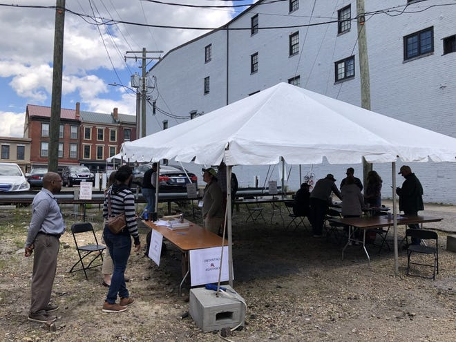 One of the parking lots in downtown Petersburg served as a voting location for delegates to the 2021 Virginia Republican Convention Saturday, May 8, 2021.