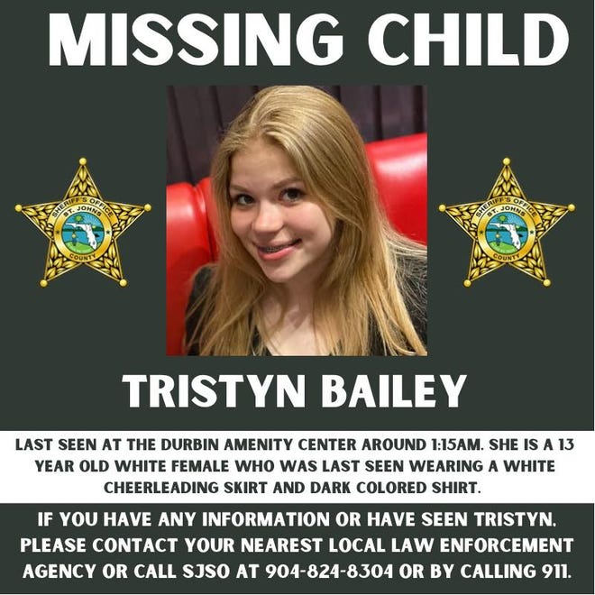 Tristyn Bailey, 13, was reported missing early Sunday morning.