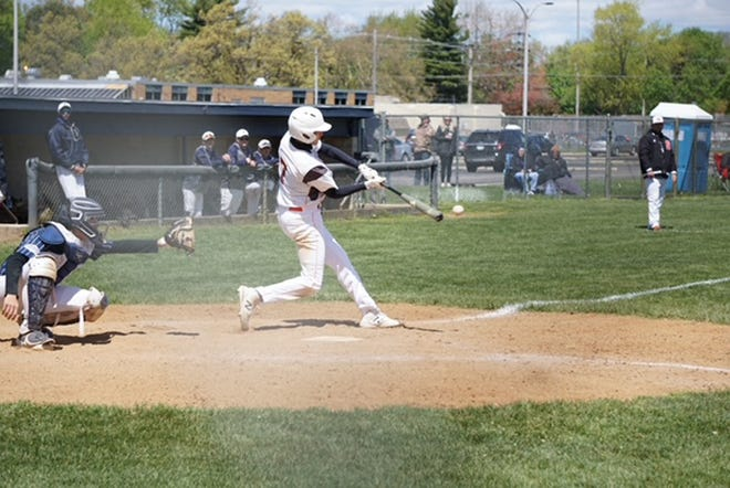 Dalton Soergel of Sturgis connects for a base hit against Niles on Saturday.