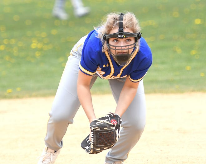 Shanksville's Kori Boozer lashes a first-inning two-run single against Berlin during a WestPAC softball game, April 28, in Shanksville.