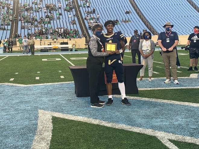 Reidsville senior wide receiver and N.C. State basketball commit Breon Pass (1) earned Most Oustanding Offensive Player honors in the Rams' 35-6 NCHSAA 2-A championship win over Mountain Heritage.