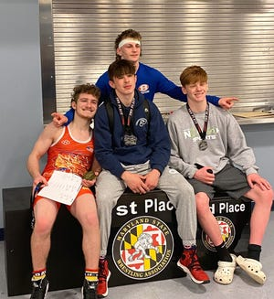 Hagerstown Area Police Athletic League wrestlers pose for a photo at the MSWA state championships Saturday.