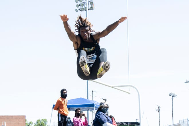 St. X's Anthony Woods competed in the long jump during the Eastern Relays event on Saturday morning at Eastern High School. 5/8/21