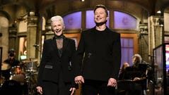 """SATURDAY NIGHT LIVE -- """"Elon Musk"""" Episode 1803 -- Pictured: Host Elon Musk with his mother Maye during the monologue on Saturday, May 8, 2021 -- (Photo by: Will Heath/NBC)"""