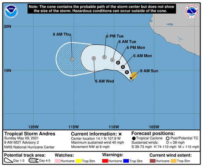 A graphic from the National Hurricane Center shows a possible path of Tropical Storm Andres, which has formed in the Pacific Ocean off the coast of Mexico.
