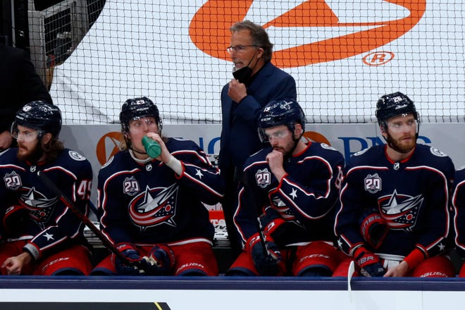 Columbus Blue Jackets coach John Tortorella on the bench during Saturday's game against the Detroit Red Wings.