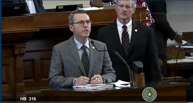 State Rep. Brad Buckley, R-Salado, speaks during Monday's House debate on his bill that would bar the use of meat-related words on labels or ads for nonmeat products.