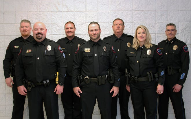 Anna Police Chief Dean Habel recently promoted seven officers during a promotion ceremony. Together they have 100 years of law enforcement experience. From left: Cpl. Josh Yates, Sgt. Brandon Blair, Cpl. Tim Thomas, Cpl. Seth McDaniel, Sgt. Rush Smith, Lt. Tammy Fernandez, Chief Dean Habel. Not pictured: Cpl. Cole Dotson