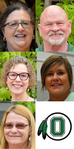 Oklahoma School for the Deaf honored teachers retiring with 164 years of total service: Debbie Patton (top left), Lawson Pair (top right), Lesa Price (middle left), Darla Skinner (middle right) and Candy Tumblson (lower left).