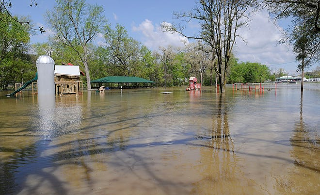 Riverside Park in downtown Loudonville was completely flooded on Monday, May 10, 2021. TOM E. PUSKAR/TIMES-GAZETTE.COM