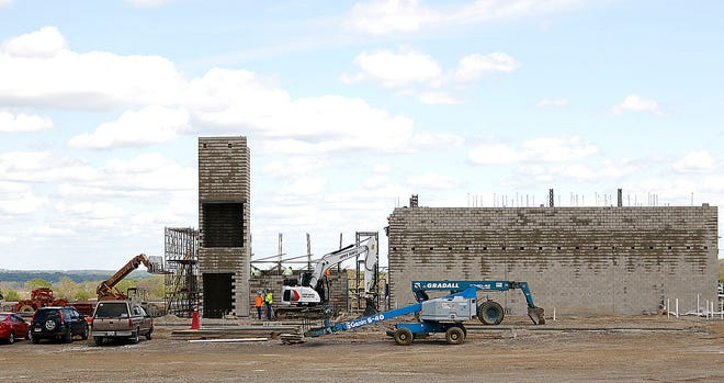 Construction on the new Hillsdale Local Schools K-12 building is seen here on Monday, May 10, 2021. TOM E. PUSKAR/TIMES-GAZETTE.COM