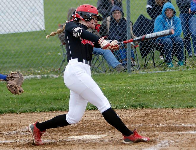 Crestview High School's Autumn Bailey (12) bats against Mapleton High School during high school softball action Monday, May 10, 2021 at Crestview High School. TOM E. PUSKAR/TIMES-GAZETTE.COM