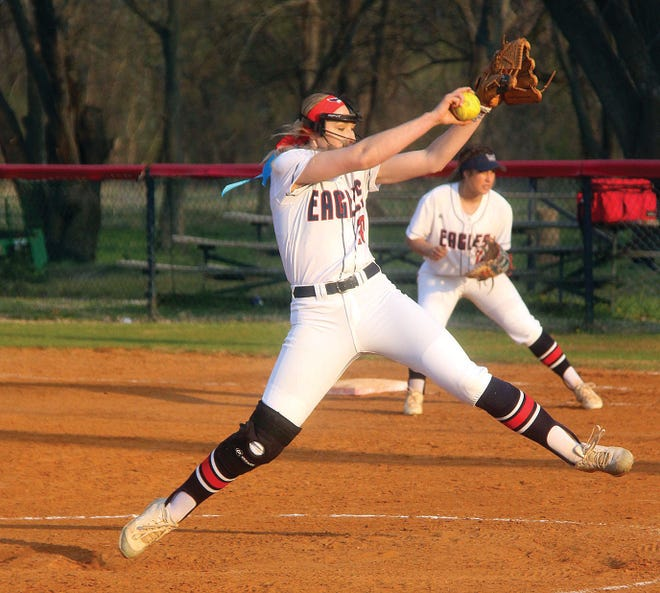 Oklahoma Wesleyan University pitcher Abbey Ely prepares to deliver a pitch during her four-year softball career with the Lady Eagles. Ely graduated from Bartlesville High.