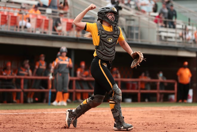 Missouri catcher Hatti Moore (31) celebrates the Tigers' win against Tennessee on May 9 in Knoxville, Tenn.