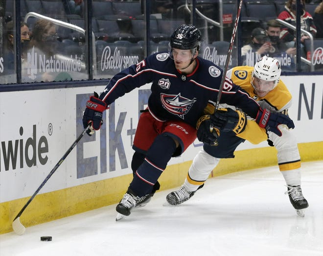 Columbus' Jack Roslovic is already comfortable offensively playing center. He tied his NHL high with 12goalsand set career marks with 22 assists and 34 points last season.