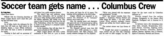 A headline announced the soccer team's name from Oct. 17, 1995