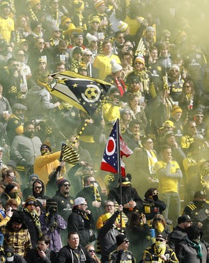 Columbus Crew SC fans in the Nordecke wave flags during the first half of the MLS match against New York City at Mapfre Stadium in Columbus on Sunday, March 1, 2020. [Adam Cairns/Dispatch]