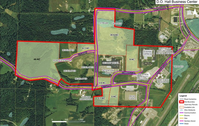 A 44-acre section at the western end of the D.O. Hall Business Park is the location for a proposed $3.5 million expansion project submitted for funding through U.S. Congressman Bill Johnson's office.
