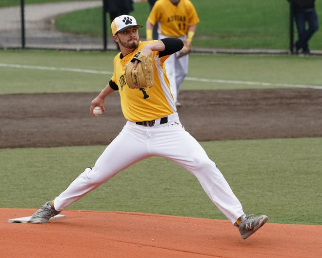 Dugan Darnell pitches for Adrian College during his senior season in 2019.