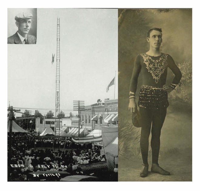 Captain Charles E. Cole, of Adrian posing in tights, is seen in the photo at right. At left, Cole is seen in this image performing his signature stunt of diving into a small net from atop a 110-foot ladder at Eden, Ohio in 1909. Cole performed this stunt for more than 20 years before retiring in 1927 and shifting his energy to managing a shooting gallery.