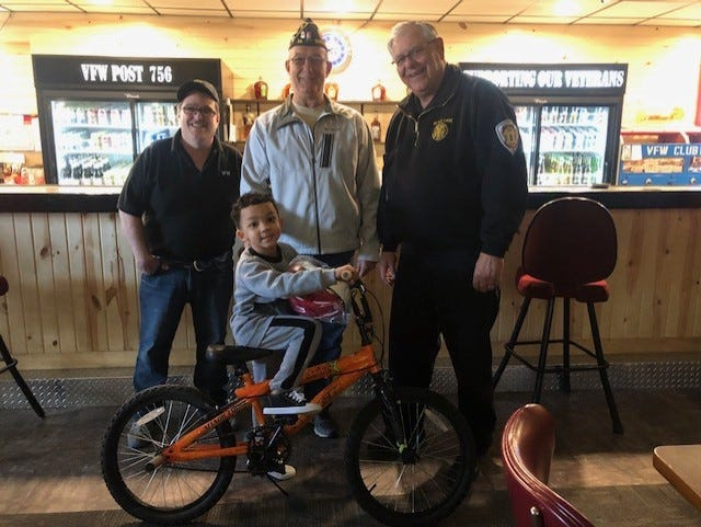 American Legion Post 24, VFW Post 756 and the City of Devils Lake made a group of children very happy recently by the donation of bicycles which were  part of their community outreach efforts.
