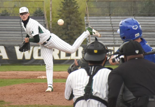 Herkimer College General Greg Farone delivers a pitch against Genesee Community College during Sunday's second sub-regional playoff game at Veterans Memorial Park.