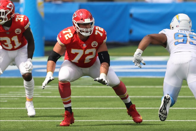 Former Kansas City Chiefs offensive tackle Eric Fisher (72) gets ready to block during a game against the Los Angeles Chargers last season. According to Associated Press sources, the Indianapolis Colts have signed Fisher to play left tackle.