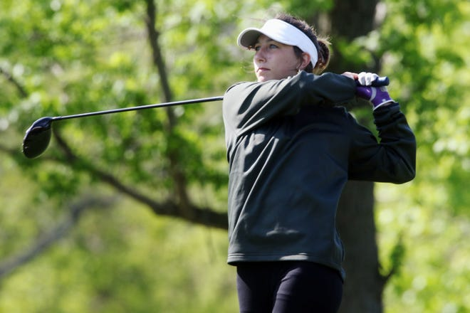 New London High School's Taylor Phillips tees off during the Southeast Iowa Superconference girls golf tournament Monday May 10, 2021 at Sheaffer Golf Course in Fort Madison.