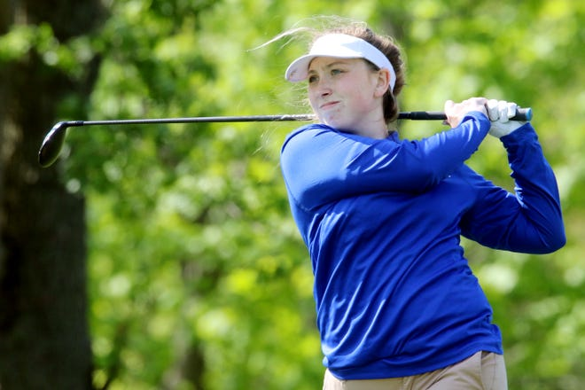 Holy Trinity High School's Alison Robu tees off during the Southeast Iowa Superconference girls golf tournament Monday May 10, 2021 at Sheaffer Golf Course in Fort Madison.