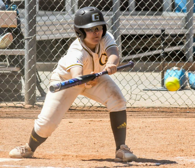 Garden City Community College's Micaela Mirabal squares up to lay down a bunt during a game earlier this season at Tangeman Sports Complex.