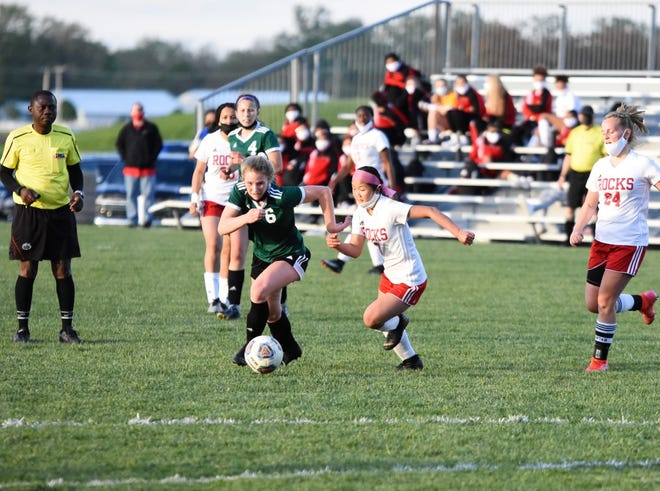 There is no stopping Geneseo's Taylor DeSplinter on the Geneseo soccer field as the GHS senior scored two goals in the recent match against Rock Island at Geneseo, which the Leafs controlled with a final score of 6-0.