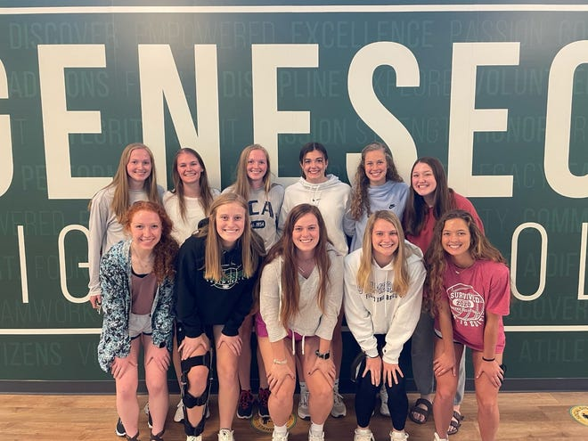Academic All-Conference went to, in front from left, Morgan Simms, Lily Weise, Faith Henderson, Taylor DeSplinter and Maggi Weller; in back, Abbi Barickman, Esther Brown, Maddi Barickman, Brenna McGuire, Allie Mackey and Addie Dunker. Hannah Dunk also received Academic All-Conference Honors, but was absent for the photo.