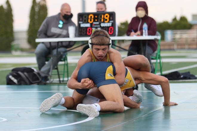 Anthony Montez, a junior at Geneseo High School, wrestled at 145 pounds against Sterling's Mauricio Garcia, a 2020 state place winner. Montez battled to a win by decision in the highly contested match