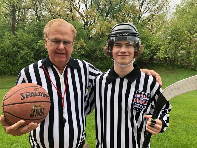 """Officiating is carried on from the old to the new. Dan Dauw, former basketball """"zebra"""" for 42 years, is next to his grandson, Dylan Nommensen, who is now a new ice hockey official."""