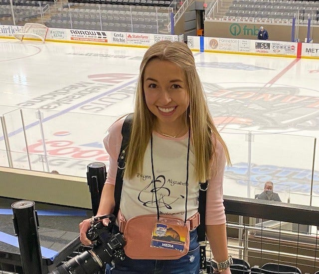 Brynn Johnson, daughter of Kris and Paula Johnson, Geneseo, and a 2020 graduate of Geneseo High School, was the lead photographer of the 2021 Nationals USA Hockey Championship games held in April in Omaha, Neb. Johnson has voluntarily been taking photos of the Quad City Blues for the last two years and she established her own business to manage her hobby, which she named brynn alyzabeth photography. She is a nursing student attending Arizona State University, but circumstances with Covid-19 brought her back home for the year.