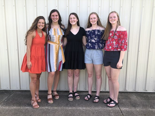 The Western Big 6 All-Conference Awards went to, from left, Maggi Weller, 1st Team All-Conference; Hannah Copeland, 2nd Team All-Conference; Addie Dunker, Honorable Mention All-Conference; Abbi Barickman, 2nd Team All-Conference; and Maddi Barickman, 1st Team All-Conference.
