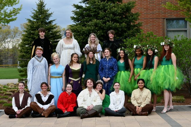 """""""A Midsummer Night's Dream"""" cast — from left, top row: Chase Landry, Zayda Waters, Mia O'Donnell and Noah Griffin; middle row: Ryan Tierney, Annika Alves, Anna Fiore, Maggie Mussler, Abby Hise, Sarah Elshaarawy, Alma Mwangi, Natalie Leonard and Sigrid Hiser; and bottom row, Sylvia Cahill, Gabby Felder, Sophia Coldwell, Jonathan Fields, Belle Geoffroy, Amanda Murdock and Meroska Gouhar. Missing are Nate Briggs and Helena Firlings."""