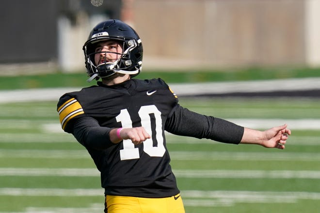 Iowa place kicker Caleb Shudak (10) kicks a field goal during practice on Saturday, April 17, 2021, in Iowa City, Iowa.