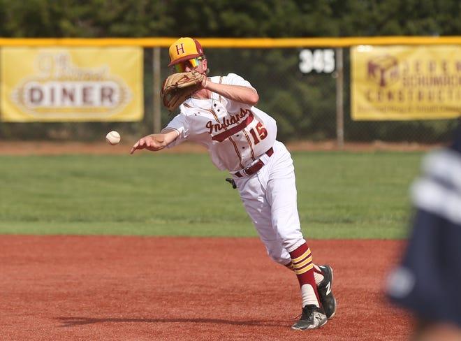 Hays High second baseman Dawson Vonfeldt throws over to first base on Saturday against Manhattan.
