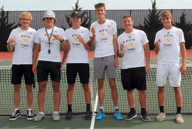 For just the second time in school history, the Newton High School boys' tennis team qualified its entire varsity lineup to state. Qualifying were Otis Musser and Sam Claassen in singles and the doubles teams of Jonah Schloneger and Justin Franz, and Max Musser and Zeke Thompson. The state meet is Friday and Saturday at Maize South High School.