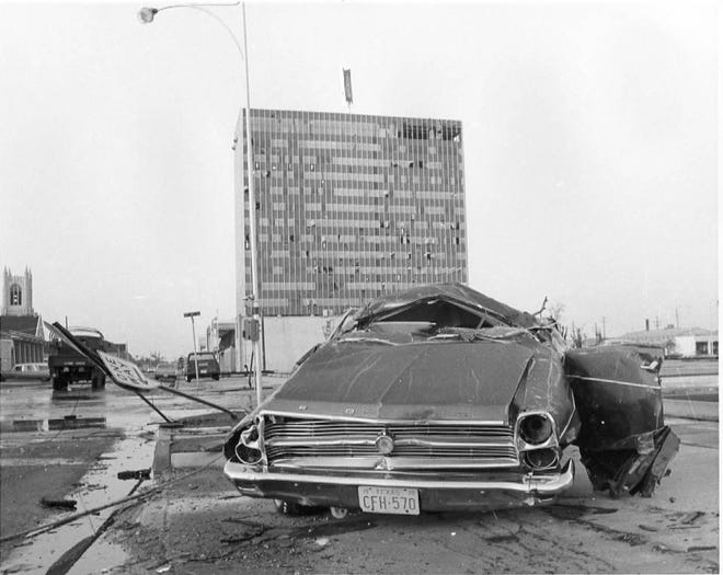 A tornadic outbreak on May, 11 1970 left much of downtown Lubbock and surrounding neighborhoods heavily damaged.