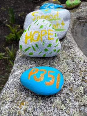 Project 351 Ambassadors and alumni walked the trails at Wachusett Mountain on April 22, cleaning up and leaving hand-painted kindness rocks behind.