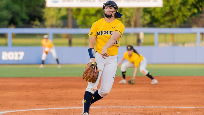 St. Mary Catholic Central graduate Meghan Beaubien threw a no-hitter for the University of Michigan in its NCAA Tournament opener Friday night.