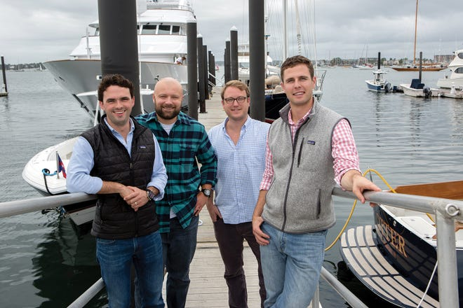 Matt Fradette, John Nagro, Tyler Kneisel and Mike Melillo co-founded Dockwa, an app that allows boaters to peruse and book marina slips online.