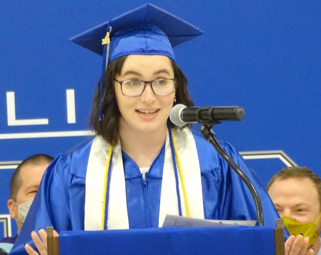 West Franklin senior Victoria Wright, one of four valedictorians for the Class of 2021, addresses her fellow seniors.