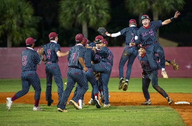 Palm Beach Central players celebrate their 3-0 win over Vero Beach in the Region 3-7A quarterfinals last Friday night.